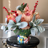 Floral Arrangement with Multi-Colored Silk Flowers Christmas Tree Tidbit Dish - Nature Land Candles