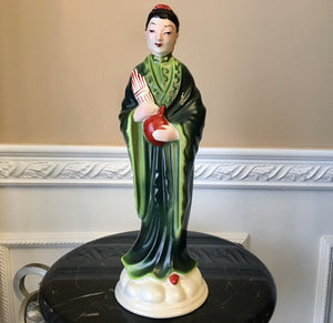 "Lampmaster 13"" tall Chinese Woman Green Robe Rock Pillar Mid-Century Figurine - Nature Land Candles"