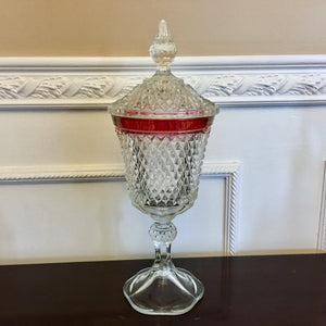 "Indiana Glass Diamond Point Ruby Flash 15"" Candy Dish with Lid - Nature Land Candles"