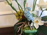 Decorative Planter White Flowers Succulents with Porcelain Bird in Green Planter - Nature Land Candles