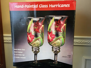 "Centrum Hand Blown Hand Painted Glass 12 7/8"" Hurricane Candles With Original Box - Nature Land Candles"