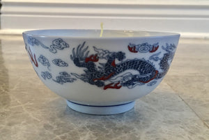 Jasmine Scented Soy Candle in Dragon Designed Rice Bowl - Nature Land Candles