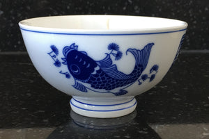 Peach Mango Scented Soy Candle in a Chinese Designed Rice Bowl - Nature Land Candles
