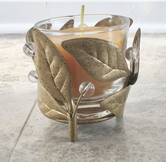 Set of Four Brass Colored Leaf Patterned Votive Candleholders with 100% Beeswax Candles - Nature Land Candles