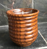 "Asian Style Circle Pattern Bamboo Candle Holder 3"" Tall x 3"" wide - Nature Land Candles"