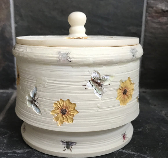 Melon Scented Palm Wax Candle in a Light Brown Ceramic Bowl with Butterflies and Lid - Nature Land Candles