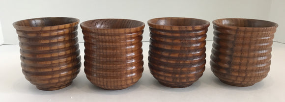 Set of Four Asian Style Circle Pattern Bamboo Cups 3
