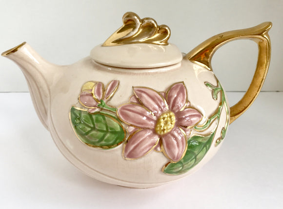 Vintage Hull Pink with Pink Flowers and Gold Trim Teapot H-20-6 1/2 U.S.A. - Nature Land Candles