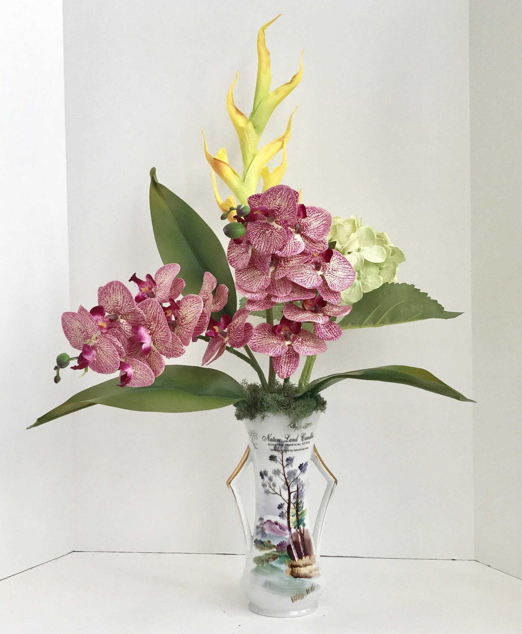 Silk Purple Orchid and Yellow Dragon Floral Arrangement – Nature