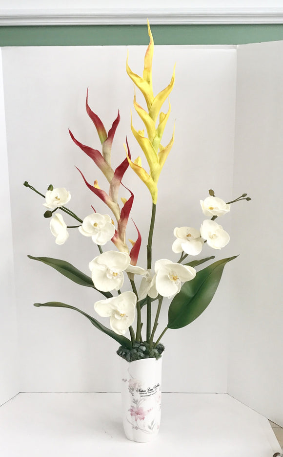 Silk White Orchids with Yellow and Red Dragon Floral Arrangement - Nature Land Candles