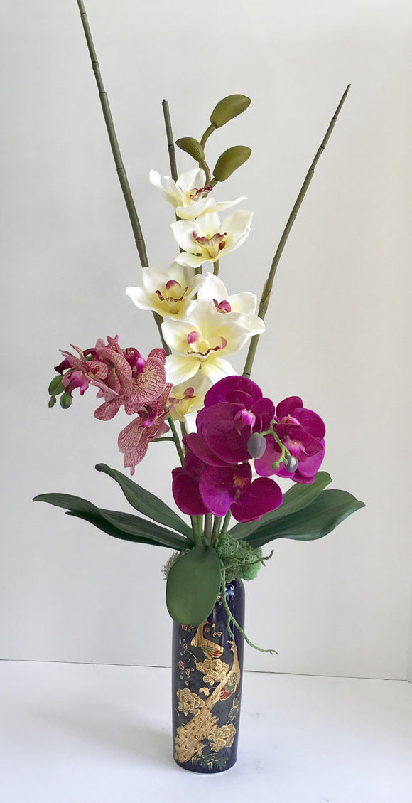 Silk Purple and White Orchids Floral Arrangement with Bamboo Shoots - Nature Land Candles