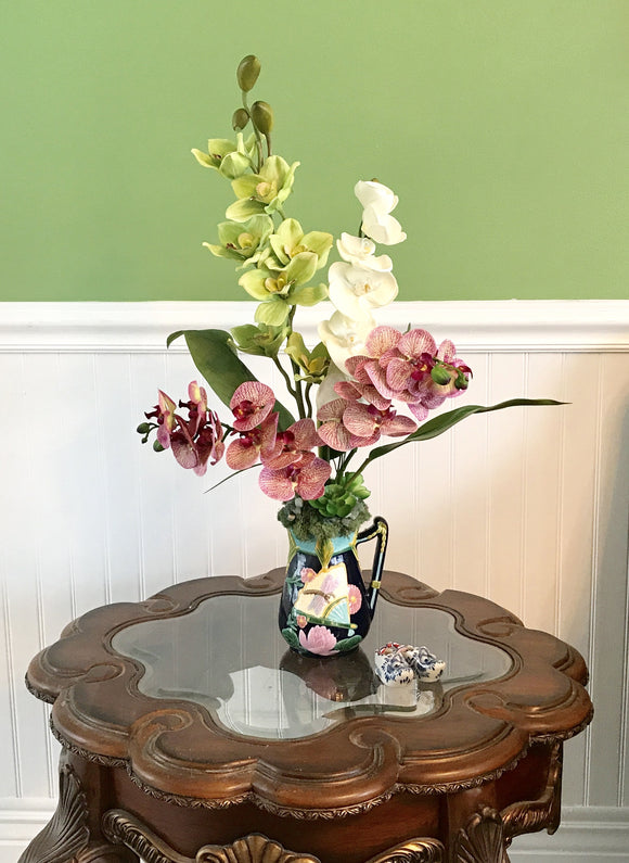 Tropical Silk Purple, White and Green Orchids Floral Arrangement in Art Deco Vase - Nature Land Candles