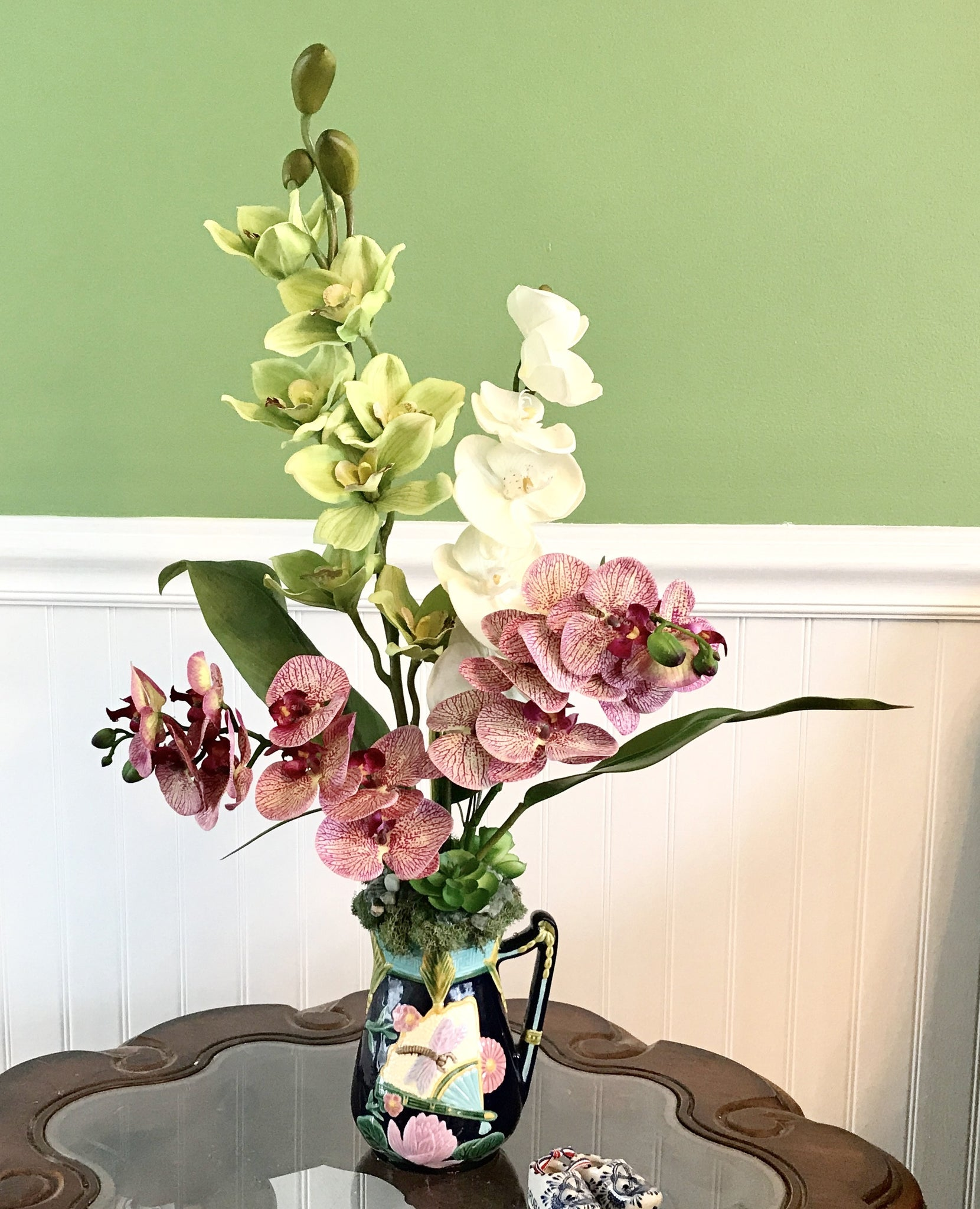 Tropical silk purple white and green orchids floral arrangement tropical silk purple white and green orchids floral arrangement in art deco vase reviewsmspy