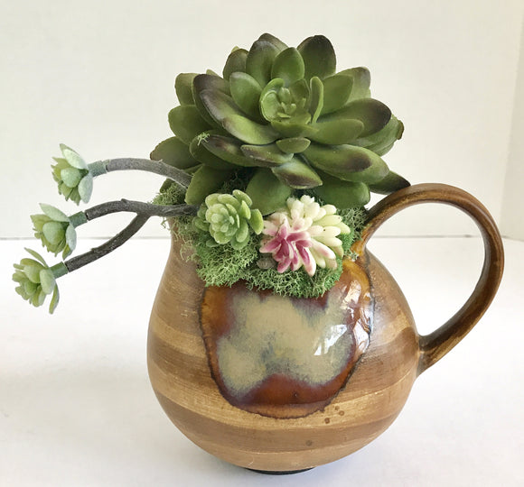 Decorative Artificial Cactus Planter in Brown Ceramic Pitcher - Nature Land Candles