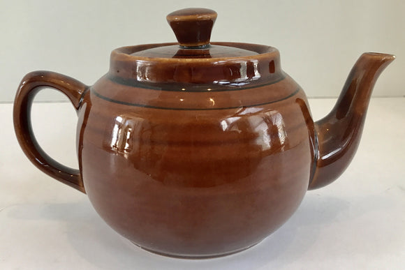 Vintage Brown Glazed Teapot With Black Strips Made in China - Nature Land Candles