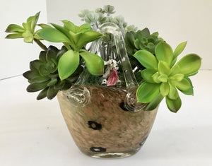Decorative Green Grass Succulents in Light Brown Festive Pitcher with Porcelain Dog - Nature Land Candles