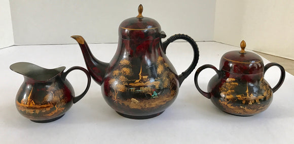 Vintage Rare Kurz-Tiel Holland Dutch Hand Painted Lacquered Pewter Tea Set - Nature Land Candles