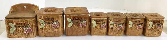 Vintage 7 piece Ceramic Spice Container Set Made in Japan - Nature Land Candles