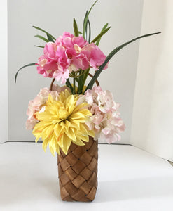 Silk Foral Arrangemt with Hibiscus' and Carnations in Wicker Basket Vase - Nature Land Candles