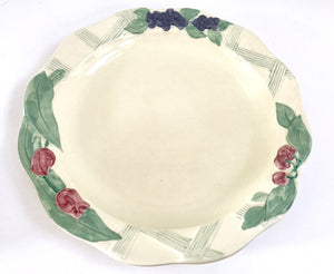 "Vintage Pfaltzgraff Treasure Craft Garden Party Large Cream Colored 13"" Bowl with Flowers - Nature Land Candles"