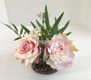 Decorative Planter with a Silk Rose and Carnations in a Gold & Brown Spotted Glass Basket - Nature Land Candles
