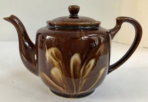 Vintage Brown Drip Glaze Ceramic Teapot With Cream Swirl Design - Nature Land Candles