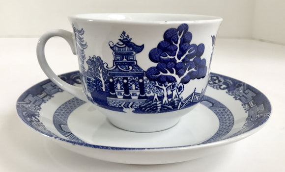 Vintage Royal Cuthbertson Blue Willow Teacup and Saucer
