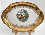 "Vintage Rare Radisson W.S. George 10 1/2"" 22 Kt Gold Inlay Serving Platter - Nature Land Candles"