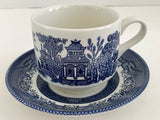 Vintage Churchill Fine Tableware Blue Willow Ware Matching Cup and Saucer - Nature Land Candles