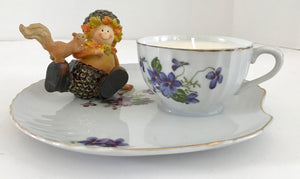Lavender Scented 100% Natural Soy Candle in a Porcelain Teacup & Snack Tray with Purple Violets and Acorn Boy - Nature Land Candles