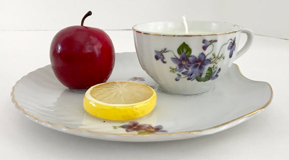 Peach Mango Scented Natural Soy Candle in a Porcelain Teacup & Snack Tray with Purple Violets - Nature Land Candles