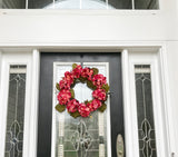 Festive Door Wreath with Artificial Pink Hydrenias and Green Leaves - Nature Land Candles