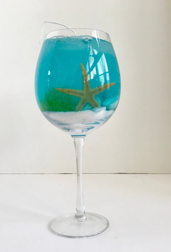 Peach Mango Scented High Density Ocean Blue Seascape Gel Candle in Tall Glass Pedestal Cocktail Glass - Nature Land Candles