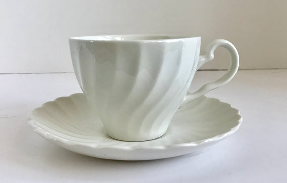 Johnson Brothers Ironstone White Swirl Teacup and Saucer Set - Nature Land Candles