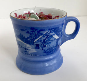 "Lavender Scented Soy Wax Candle in ""The Old Homestead in Winter"" Blue Coffee Mug - Nature Land Candles"