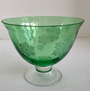 Vintage Green Glass Snowflake Pattern Footed Bowl - Nature Land Candles