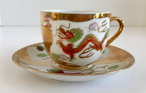 Vintage 22K Gold and White Red Dragon Porcelain Teacup and Saucer - Nature Land Candles