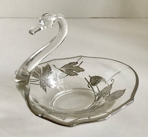 Vintage Silver Overlay Glass Swan Bowl - Nature Land Candles