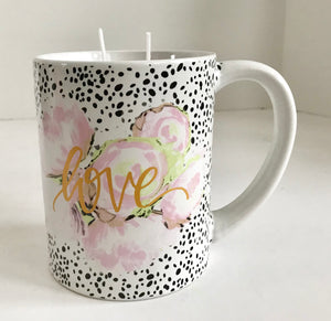 "Pineapple Scented Soy Candle in a Ceramic Black and White ""Love"" Mug with Pink Flowers - Nature Land Candles"