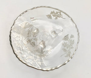 "Silver City Glass 7 1/2"" Flanders Poppy Crystal on Silver Overlay Three Footed Bowl - Nature Land Candles"