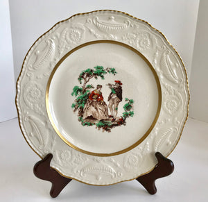 "Vintage Steubenville Ivory Courting Couple 10 1/2"" plate with Gold Trim"