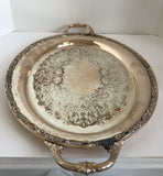 Vintage Wm Rogers & Sons Silverplate Victorian Rose 1981 24 Inch Two Handle Tray - Nature Land Candles
