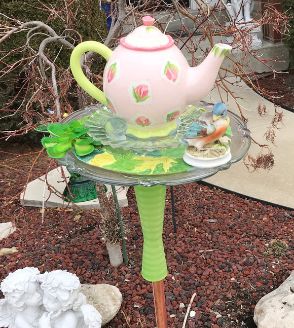 Vintage Repurposed Garden Ceramic and Art Glass Bottle Art With Pink Teapot