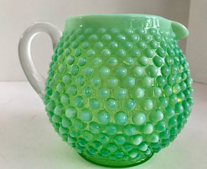 Vintage Fenton Art Glass Green Opalescent Hobnail Squat Pitcher - Nature Land Candles