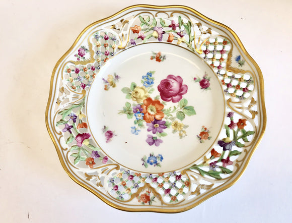 Schumann Germany Chateau Dresden Flowers Reticulated Porcelain 7 1/2