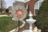Vintage Upcycled Art Glass, Orange Carnival Glass and Porcelain Yard Art - Nature Land Candles