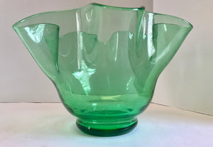 "Vintage Hand Blown Clear Green Glass 10 1/2"" Handkerchief Vase/Bowl - Nature Land Candles"