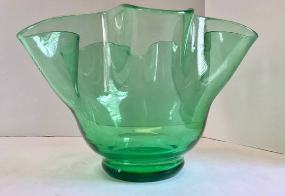 Vintage Hand Blown Clear Green Glass 10 1/2
