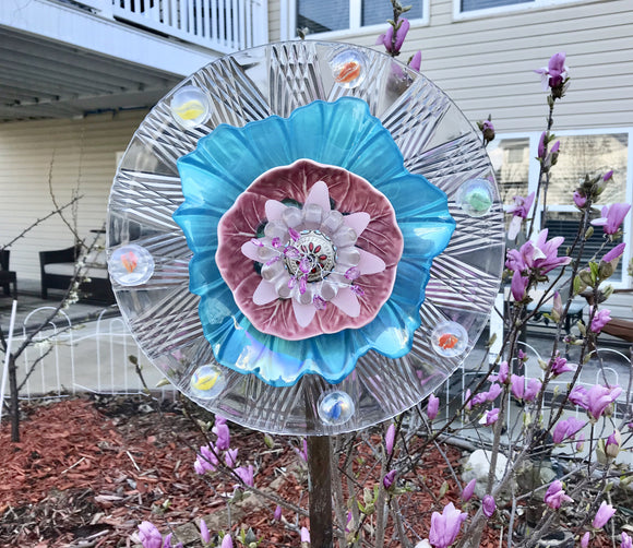 Vintage Upcycled Glass and Cermaic Yard Art