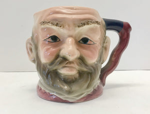 "Vintage 4 3/4"" Toby Cross Eyed Man Mug with Raised Bushy Eyebrows - Nature Land Candles"